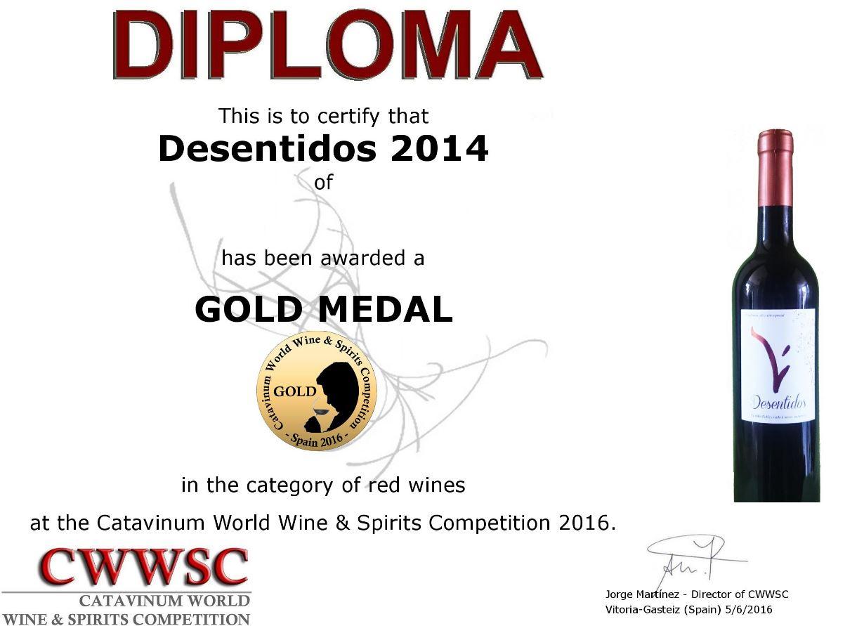 oro 2016 Catavinum Desentidos 2014
